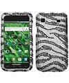 Samsung Galaxy S 4G SGH-T959V i9000 Vibrant Black Zebra Diamante Diamond Studded Snap-on Cover / Shield Protector Case