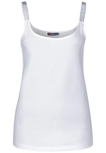 Street One Damen Top mit Glitzer-Trägern White 38
