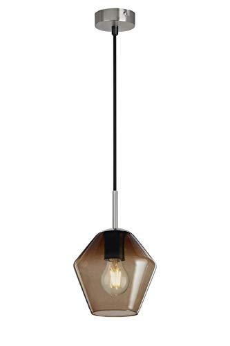 Briloner Leuchten – Pendelleuchte, Pendellampe mit braunem Pentagon-Glas, Basis matt-nickel, E27, max. 40W, inkl. Textilzuleitung, Länge: 1,20 m