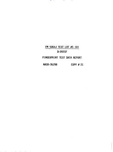 Fingerprint test data report: FM 5064J test lot 5 (H) (English Edition)