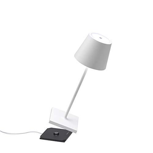 Zafferano Poldina Pro Mini-Dimmbare LED-Tischlampe aus Aluminium, Schutzart IP54, Verwendung im Innen-/Außenbereich, Kontaktladestation, H30cm, EU-Stecker (Weiss)