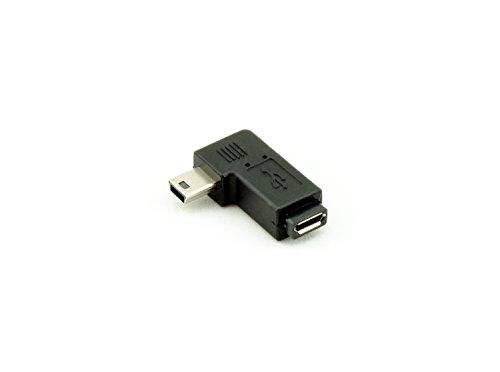 AKORD Right Angled Mini USB Male to Micro USB Female Adapter - Black