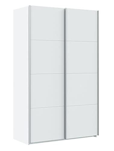 PEGANE Armoire avec 2 Portes Coulissantes Coloris Blanc Artic - Longueur 120 cm x Hauteur 200 cm x Profondeur 60 cm