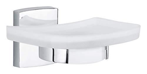 Tesa klaam Design-Seifenschale (inkl. Klebelösung, verchromt, rostfrei, satinierte Ablage, 60mm x 132mm x 120mm)