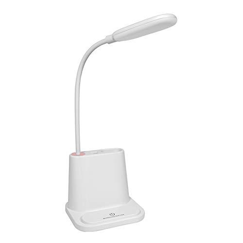 YMNL Lámpara Escritorio LED, Lámpara De Mesa De Protección Ocular, Lámpara De Mesa táctil, Soporte para Bolígrafo Multifunción, Ventilador Eléctrico Carga del Teléfono USB,White