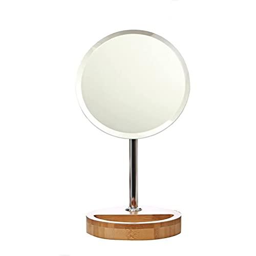 LYQQQQ Espejo de Maquillaje de Escritorio, Espejo de vanidad portátil HD, Espejo de Belleza de Madera - Diámetro del Espejo 17.2 cm