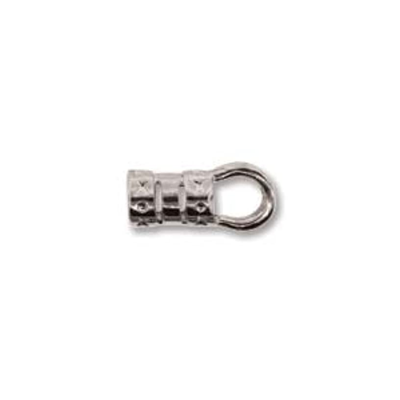 Crimp End Cap Silver Plate 5.5mm Tube 4mm Ring (24)