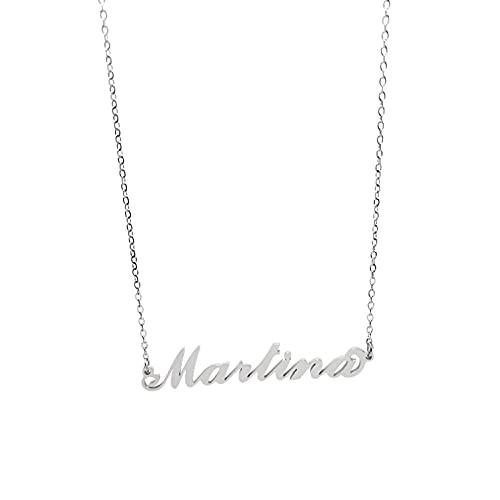 Collar de mujer con nombre de acero en cursiva, elegante, gargantilla ajustable, antialérgica, color plateado, caja de regalo incluida, Elisa, Acero inoxidable,