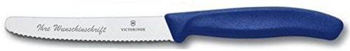 Victorinox Tafelmesser/Brötchenmesser/Tomatenmesser/Brotzeitmesser mit Gravur Blau (1)