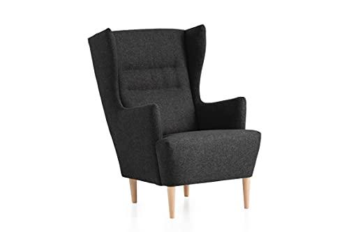 Traumnacht Ohrensessel Lukas, bequemer und moderner Relaxsessel für Wohnzimmer und Esszimmer, anthrazit