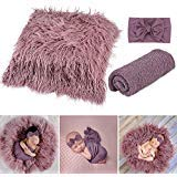Newborn Photography Props, Fascigirl 3PCS Toddler Photo Blankets Wrap and Headband Long Hair Photography Wrap Shaggy Area Rug Photo Prop Multi-Purpose Swaddle Wrap Photography Mat for Babies (Purple)