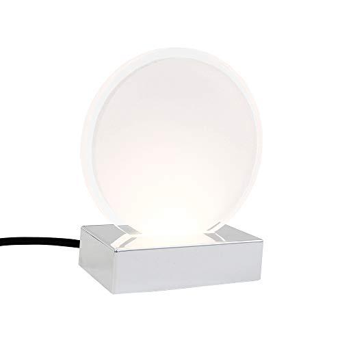 Preisvergleich Produktbild Briloner Leuchten Tischleuchte,  Nachttischlampe mit Schnurschalter,  LED-Platine rund-weiß mit transparentem Rand,  3 Watt,  230 Lumen,  Kunststoff,  3 W,  Chrom,  120x60x140mm (LxBxH)