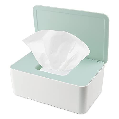 KONUNUS Caja de almacenamiento para toallitas húmedas con dispensador de toallitas con tapa a prueba de polvo para oficina en el hogar (verde)