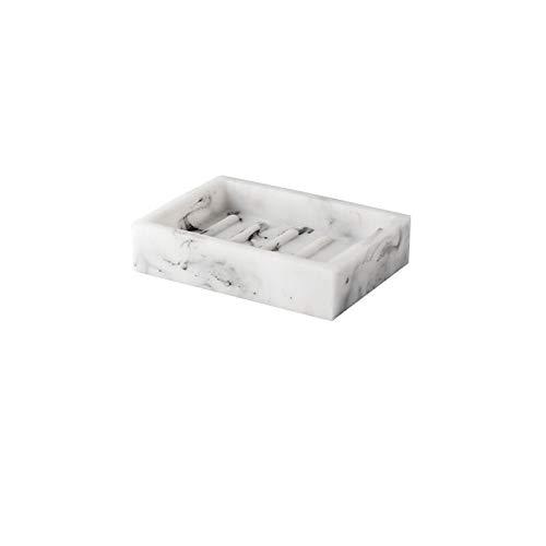 LYPSGZNfeizh Soap Box, Portable Square Granite Texture Resin Soap Box Home Hotel Kitchen Bathroom Accessories Decoration Soap Storage Box (Color : White)