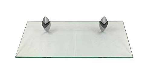 Glasregal Wandregal 50x25 cm / 8 mm Klarglas mit ICEBERG4 silbermatt / 1 Regal