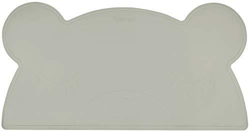 Kindsgut Set de table enfant en silicone étanche et antidérapant en forme d'ours, gris foncé