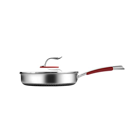 Sartén de acero inoxidable con tapa de panal Woks antiadherente con mango ergonómico para estufa de gas, cocina de inducción, estufa de cerámica eléctrica/11 pulgadas. ( tamaño : 28cm/11inch )