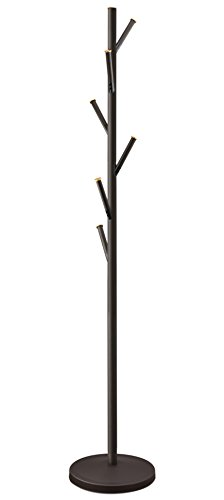 Kira Home Addison 68' Modern 6 Hook Free Standing Metal Coat Rack, Weighted Base, Gold Cap Accents + Oil-Rubbed Bronze Finish