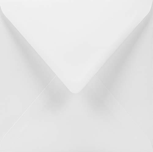 100 weiße quadratische Briefumschläge, 155x155 mm, 100g, Lessebo Smooth White, Spitzklappe, ohne Fenster, ideal für Einladungskarten, Geburtstagskarten, Glückwunschkarten, Briefe