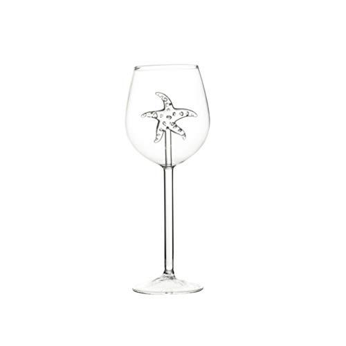 JumpXL Copas de vino con estrella de mar, hipocampo, delfines dentro del mar, copas de vino con temática de cristal transparente, perfectas para el hogar/bares/fiestas, 300 ml