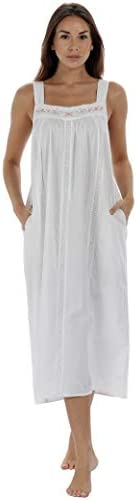 The 1 for U Nightgown 100 Cotton Sleeveless Pockets Meghan Large White product image