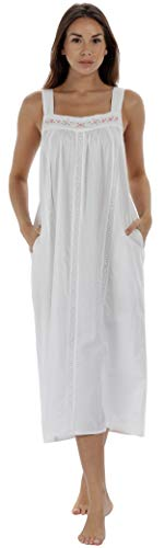The 1 for U Nightgown 100% Cotton Sleeveless + Pockets Meghan (Small, White)