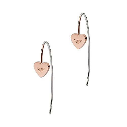 Emporio Armani Pendientes colgantes para mujer, de acero inoxidable en tono oro rosa, EGS2826221