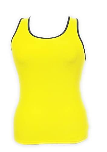 MCA Camiseta de tirantes para mujer, para fitness, gimnasio, correr, yoga y deporte, entrenamiento amarillo XL