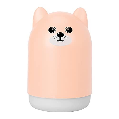 OOFAT Humidificador Pequeño Portátil Humidificador De Niebla Fría,con Luces De Humor Coloridas Alimentado,por USB para El Hogar, Dormitorio, Guardería, Escritorio De Oficina, 300Ml,Rosado