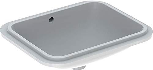 Geberit VariForm Lavabo bajo encimera Rectangular, 450x350mm, sin Agujero para Grifo, con rebosadero, Color: Blanco - 500.761.01.2