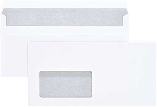 Amazon Basics - Briefumschlag mit Sichtfenster, DL (110x220 mm), selbstklebend, Weiß, 75 g/m², 100 Stück