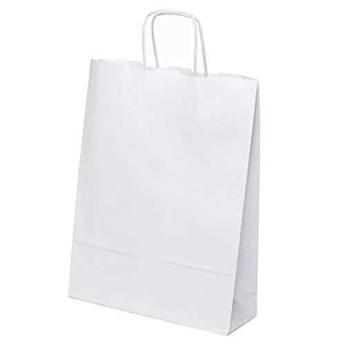 kgpack 25 STK. Papiertaschen groß 33 x 25 x 8 cm Bodenbeutel Tragetaschen Obstbeutel Mitgebseltüten Geschenktaschen Süßigkeiten Geschenkverpackung Gastgeschenke Tüten Weiß Kraft Geschenkpapier