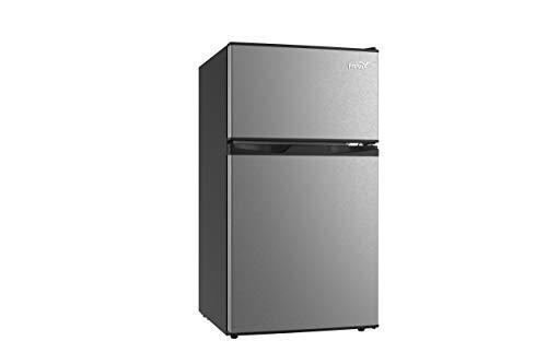 GOJOOASIS Mini Fridge with Freezer Small Refrigerator for Office & Bedroom 3 Cubic Feet 2-Door (DARK SILVER)