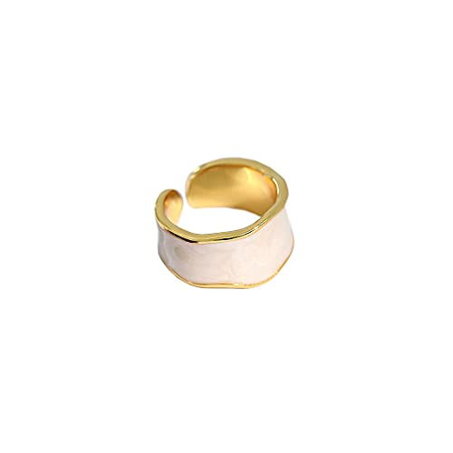 Anillos de esmalte geométricos de plata 925, anillos ajustables de tamaño variable, joyería Rock Punk, joyas finas, fiesta, esmalte blanco dorado
