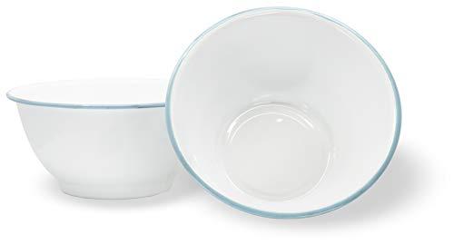 Red Co. Enamelware Metal Large Classic 4 quart Round Salad Serving Bowl, Solid White/Teal Rim - Set of 2