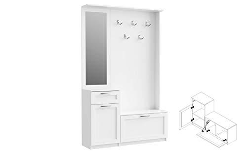 Garderobe NIKO NIKD04 Flurgarderobe, Flur, Dielengarderobe mit 1 Tür, 1 Klapptür, Spiegel, Schublade und 5 Kleiderhaken (Weiß matt)