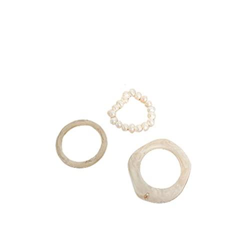 Eeauytr Coloridos anillos de resina acrílica de diamante, 3 piezas retro perla irregular anillo para mujeres y niñas, anillo apilable vintage