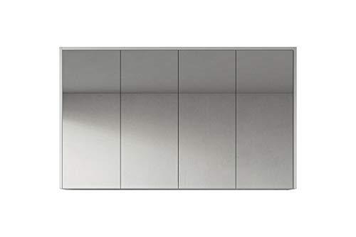 Badplaats B.V. Spiegelschrank Cuba 120 cm Hochglanz weiß - Schrank Spiegelschrank Spiegel Badezimmer Badmöbel Hängeschrank
