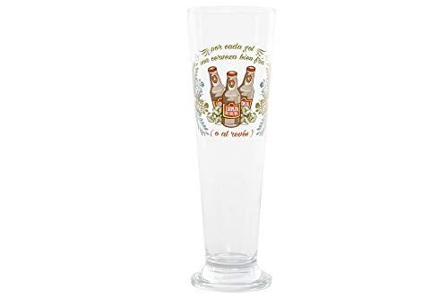 takestop® Vaso de cerveza de cristal, 400 ml, con texto en inglés (7,5 x 7,5 x 24 cm)