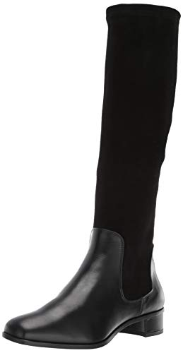 Aquatalia Women's LINA Calf/Stretch Suede Knee High Boot, Black, 9.5 M US