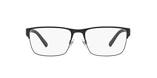 Polo Ralph Lauren Ph1175 - Marco de gafas rectangulares para hombre, Negro mate/lente de demostración., 56 mm