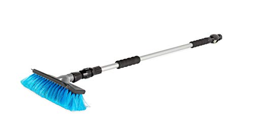 Camco RV Flow-Through Wash Brush with Adjustable Handle (43633), Black/Gray