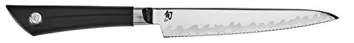 Shun Sora 5.5-Inch Serrated Utility Knife with Composite Blade Technology and Textured, Durable Handle; Serrated Edge Ideal for Foods with Tough Skin and Delicate Interiors; Handcrafted in Japan