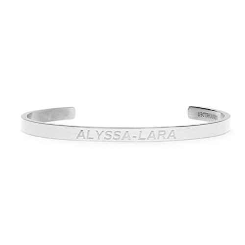 URBANHELDEN - Gravierter Armreif mit Ihrem Wunschnamen - Damen Schmuck Bangle Personalisiert - Verstellbar, Edelstahl - Armband mit Wunschgravur - V1 Silber