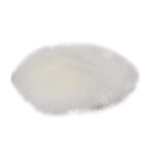 thematys Stuhlkissen rund in 5 3 Größen - Flauschiges Fell Sitzkissen aus Kunstfell (Weiß, 30 cm)