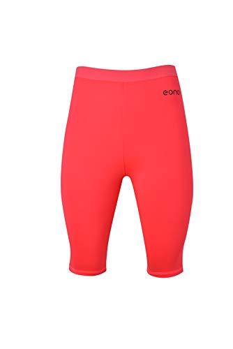 Eono Essentials elastische Yoga-Shorts aus 4-Wege-Stretch für Damen, bis zur Mitte der Oberschenkel reichend (Pink, Größe XL)