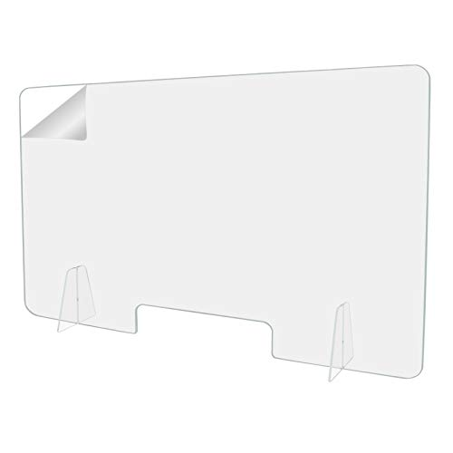 Protective Sneeze Guard, Clear Acrylic Plexiglass Freestanding Shield for Food Screen, for Sales Counter/Reception Protection Barrier for Workers Against Cough & Sneezing (60'w x 24'h)