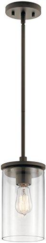 Kichler 43996OZ Crosby Pendant, 1 Light Incandescent 100 Watts, Olde Bronze