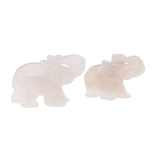 Be In Your Mind - Figura de elefante de piedra natural Fengshui Pocket Miniestatuta de cristal para casa, oficina en casa, casa, arte decoración (cuarzo rosa)