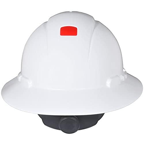 3M Full Brim Hard Hat H-801R-UV, White 4-Point Ratchet Suspension, with Uvicator